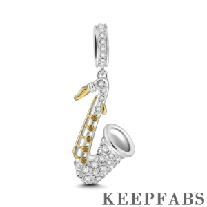 Saxophone Charm 18k Gold Plated Silver