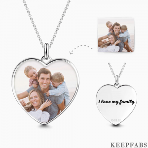 Photo Heart Tag Necklace Engraved Pendant