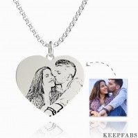 Women's Heart Photo Engraved Tag Necklace Silver Z901553650440