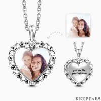 Engraved Heart Photo Necklace Silver Z901553652074