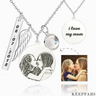Women's Photo Engraved Tag Necklace With Engraving Silver Z901553652524