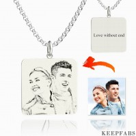 Women's Square Photo Engraved Tag Necklace With Engraving Silver