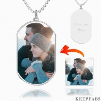 Engraved Photo Tag Necklace Silver Z901553734916