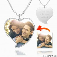 Engraved Heart Tag Photo Necklace Silver Z901553735154
