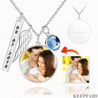 Engraved Round Tag Photo Necklace Silver Z901553735286