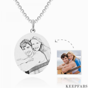 Round Photo Engraved Tag Necklace Stainless Steel Z901553735716