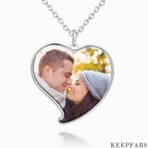 Heart Photo Necklace Platinum Plated Silver Z901553736042