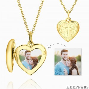 Embossed Cross Printing Heart Photo Locket Necklace With Engraving