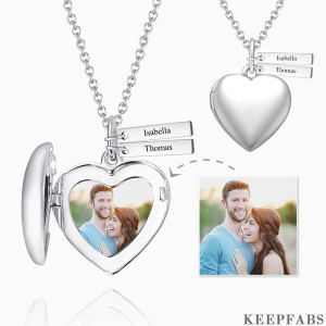 Personalized Heart Photo Locket Necklace With Engraving