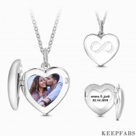 Silver Inifinity Heart Photo Locket With Engraving Name Z901553739124
