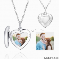 Embossed Heart Photo Locket Necklace With Engraving