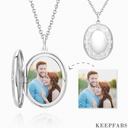 Embossed Oval Photo Locket Necklace With Engraving