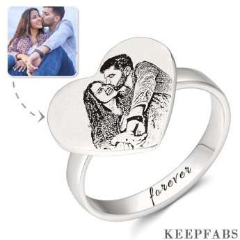 Heart Photo Engraved Ring with Engraving Platinum Plated Silver