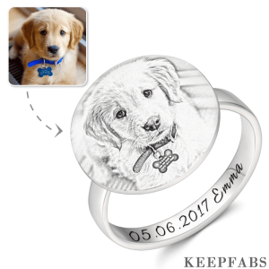 Round Photo Engraved Ring with Engraving Platinum Plated Silver