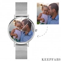 Father's Birthday Gift - Unisex Engraved Alloy Bracelet Photo Watch 40mm