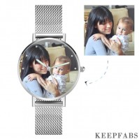 Engraved Photo Watch with Luminous Pointer Alloy Bracelet Photo Watch 40mm - Unisex