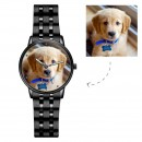 Engraved Photo Watch with Luminous Pointer Black Alloy Bracelet