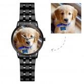 Engraved Photo Watch with Luminous Pointer-Men's