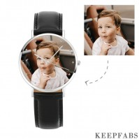 Engraved Photo Watch, Keepsake Gift Black Leather Strap 40mm - Unisex
