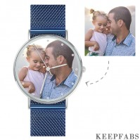 Photo Engraved Watch, Custom Your Own Photo Watch with Blue Strap - Women