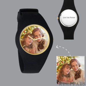 Men's Silicone Engraved Photo Watch Men's Engraved Photo Watch 41mm Black Strap
