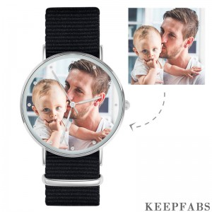 Father's Birthday Gift - Personalized Engraved Watch, Custom Your Own Photo Watch with Black Strap