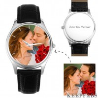 Men's Engraved Photo Watch 43mm Black Leather Strap