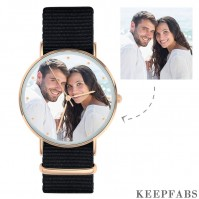 Personalized Engraved Watch, Photo Watch with Black Strap - Gift for Boyfriend