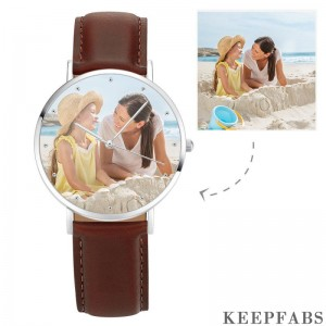 Unisex Engraved Photo Watch Brown Leather Strap 40mm