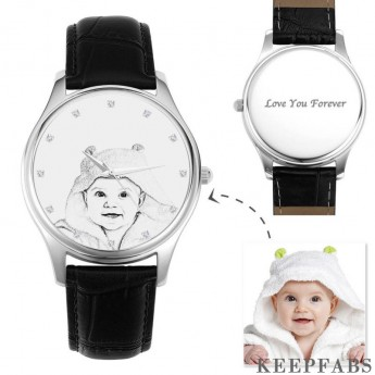 Men's Engraved Photo Watch 43mm Black Leather Strap - Sketch