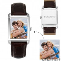 Men's Engraved Photo Watch 40*33mm Brown Leather Strap