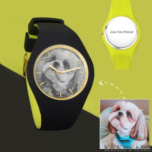 Unisex Silicone Engraved Photo Watch Unisex Engraved Photo Watch 41mm Black and Green Strap- Sketch