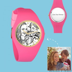 Women's Silicone Engraved Photo Watch Women's Engraved Photo Watch 41mm Pink Strap - Sketch