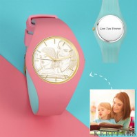 Unisex Silicone Engraved Photo Watch Unisex Engraved Photo Watch 41mm Pink and Blue Strap - Golden