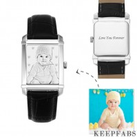 Women's Engraved Photo Watch 36.5*30mm Black Leather Strap - Sketch