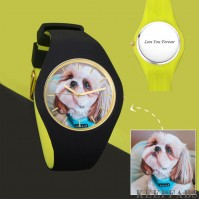 Unisex Silicone Engraved Photo Watch Unisex Engraved Photo Watch 41mm Black and Green Strap