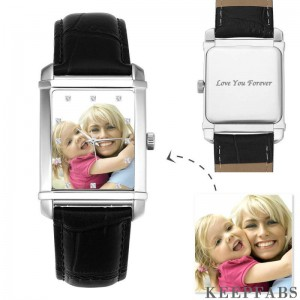 Men's Engraved Photo Watch 40*33mm Black Leather Strap