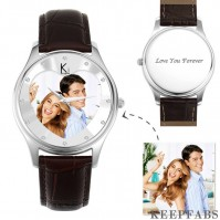 Men's Engraved Photo Watch 43mm Brown Leather Strap