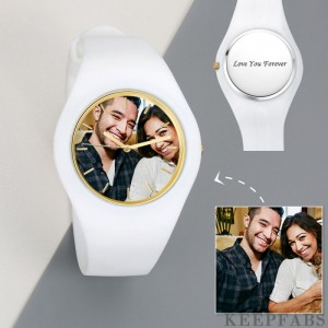 Men's Silicone Engraved Photo Watch Men's Engraved Photo Watch 41mm White Strap