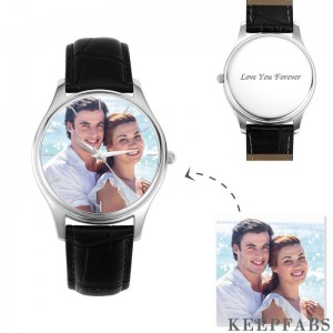 Women's Engraved Photo Watch 40mm Black Leather Strap