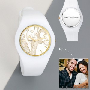 Men's Silicone Engraved Photo Watch Men's Engraved Photo Watch 41mm White Strap - Golden