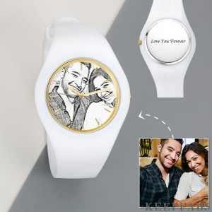 Men's Silicone Engraved Photo Watch Men's Engraved Photo Watch 41mm White Strap - Sketch