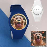 Unisex Silicone Engraved Photo Watch Unisex Engraved Photo Watch 41mm Blue and White Strap