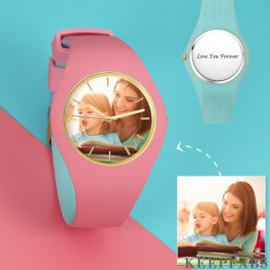 Unisex Silicone Engraved Photo Watch Unisex Engraved Photo Watch 41mm Pink and Blue Strap