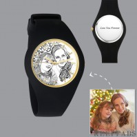 Men's Silicone Engraved Photo Watch Men's Engraved Photo Watch 41mm Black Strap - Sketch