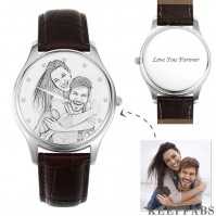 Men's Engraved Photo Watch 43mm Brown Leather Strap - Sketch