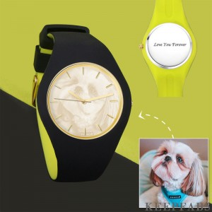 Unisex Silicone Engraved Photo Watch Unisex Engraved Photo Watch 41mm Black and Green Strap - Golden