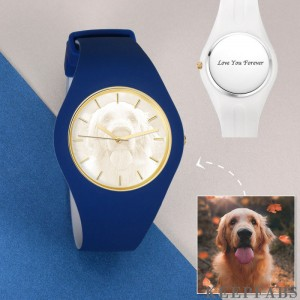 Unisex Silicone Engraved Photo Watch Unisex Engraved Photo Watch 41mm Blue and White Strap - Golden