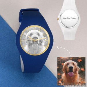 Unisex Silicone Engraved Photo Watch Unisex Engraved Photo Watch 41mm Blue and White Strap - Sketch