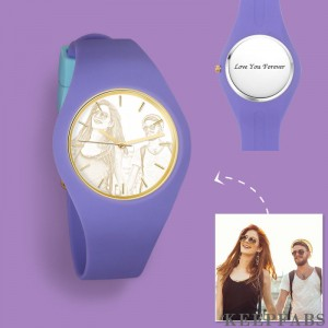 Women's Silicone Engraved Photo Watch Women's Engraved Photo Watch 41mm Purple Strap- Golden